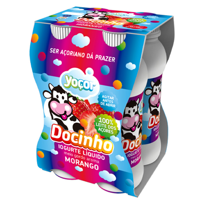 Iogurte Yoçor liquido Docinho MorangoPack4